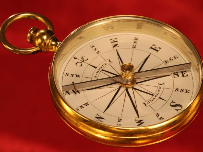 ANTIQUE GILT BRASS HAND BEARING COMPASS BY WHITE c1870 - Reserved