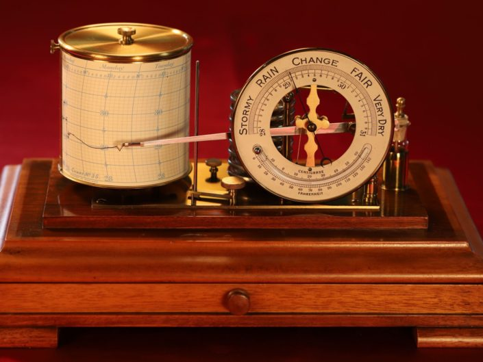 ANTIQUE DRUM BAROGRAPH AND BAROMETER BY NEGRETTI & ZAMBRA c1915