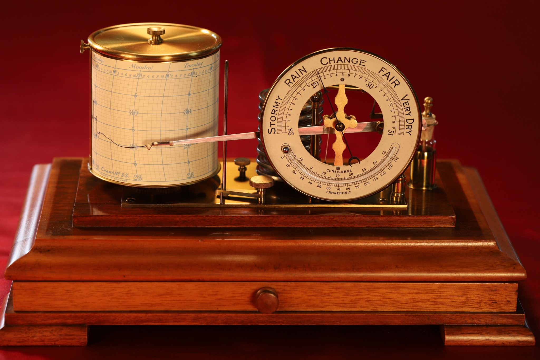 Image of Negretti & Zambra Barograph with Dial c1915