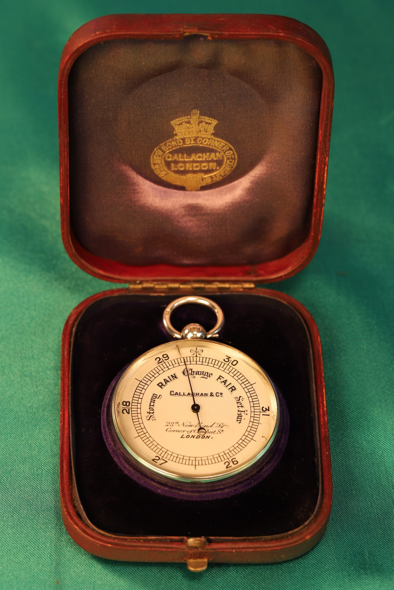 Image of Silver Callaghan Pocket Barometer No 8058 c1903