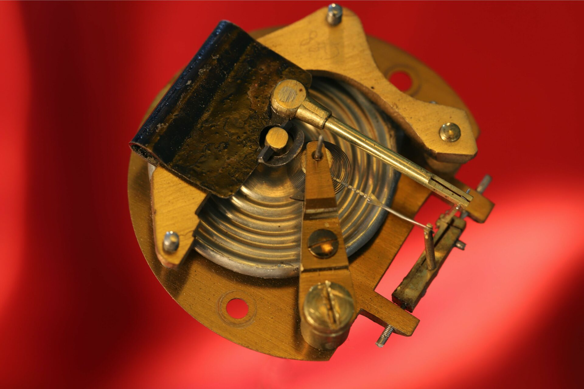 Close up of Negretti & Zambra movement from Clark Silver Pocket Barometer Thermometer Compass Compendium c1888