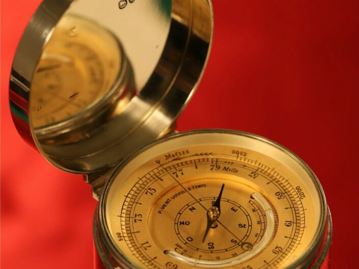 SILVER POCKET BAROMETER COMPENDIUM BY STOCKWELL RETAILED BY CLARK, LONDON c1888
