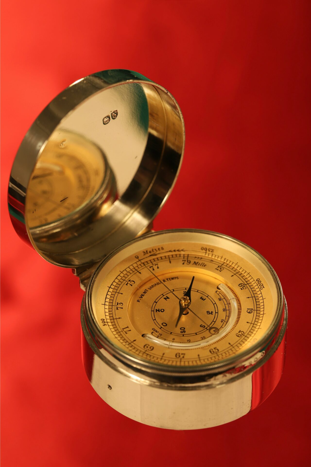 Image of dial of Clark Silver Pocket Barometer Thermometer Compass Compendium c1888 showing hallmarks