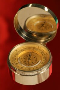 Image of dial of Clark Silver Pocket Barometer Thermometer Compass Compendium c1888