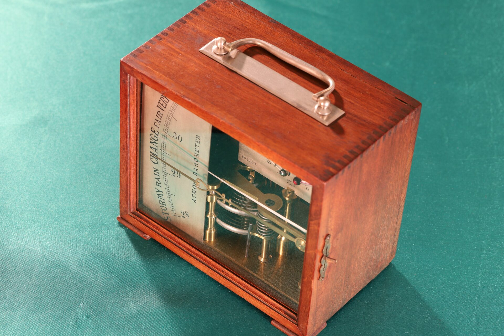 Image of the cased French Atmos Barometer c1875 taken from the right
