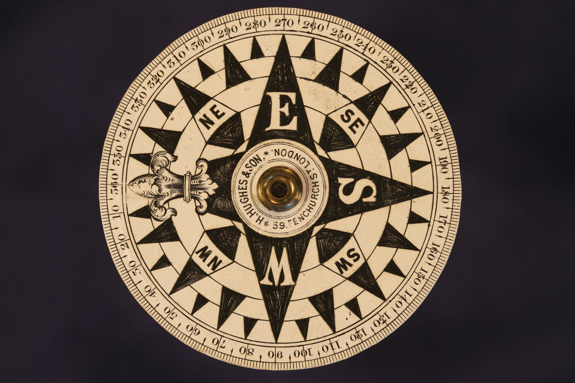 Close up of dial from Barker Gimballed Nautical Compass for Hughes c1880