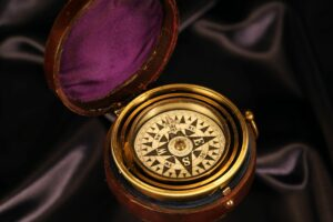 Image for Barker Gimballed Nautical Compass for Hughes c1880 in open travel case