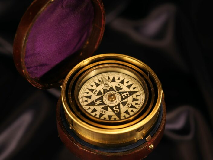 RARE AND FINE TELESCOPIC GIMBALLED NAUTICAL COMPASS BY BARKER FOR HUGHES & SON c1880