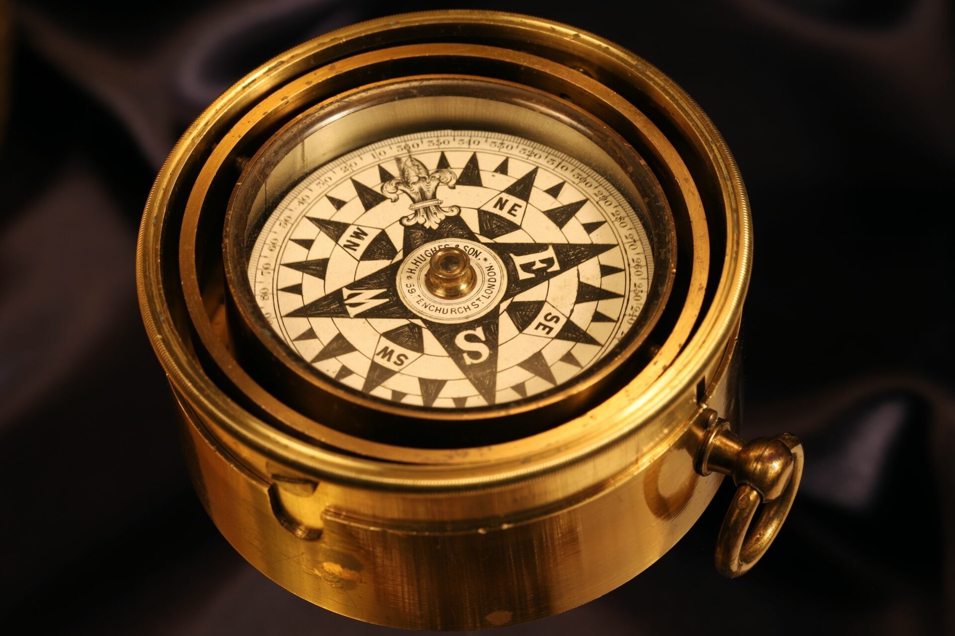 Close up of Barker Gimballed Nautical Compass for Hughes c1880