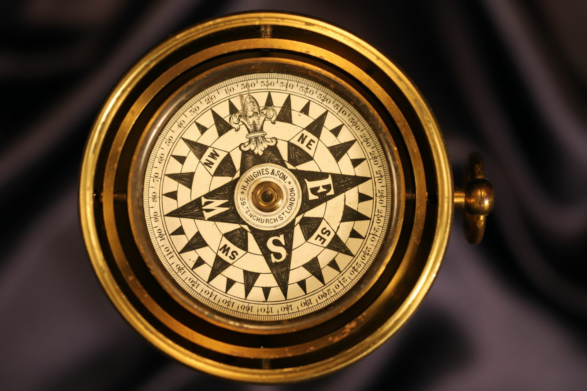 Image of Barker Gimballed Nautical Compass for Hughes c1880 from above