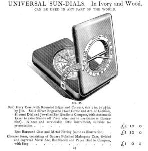 Image of Francis Barker Equinoctial Compass taken from Barker Catalogue 1907