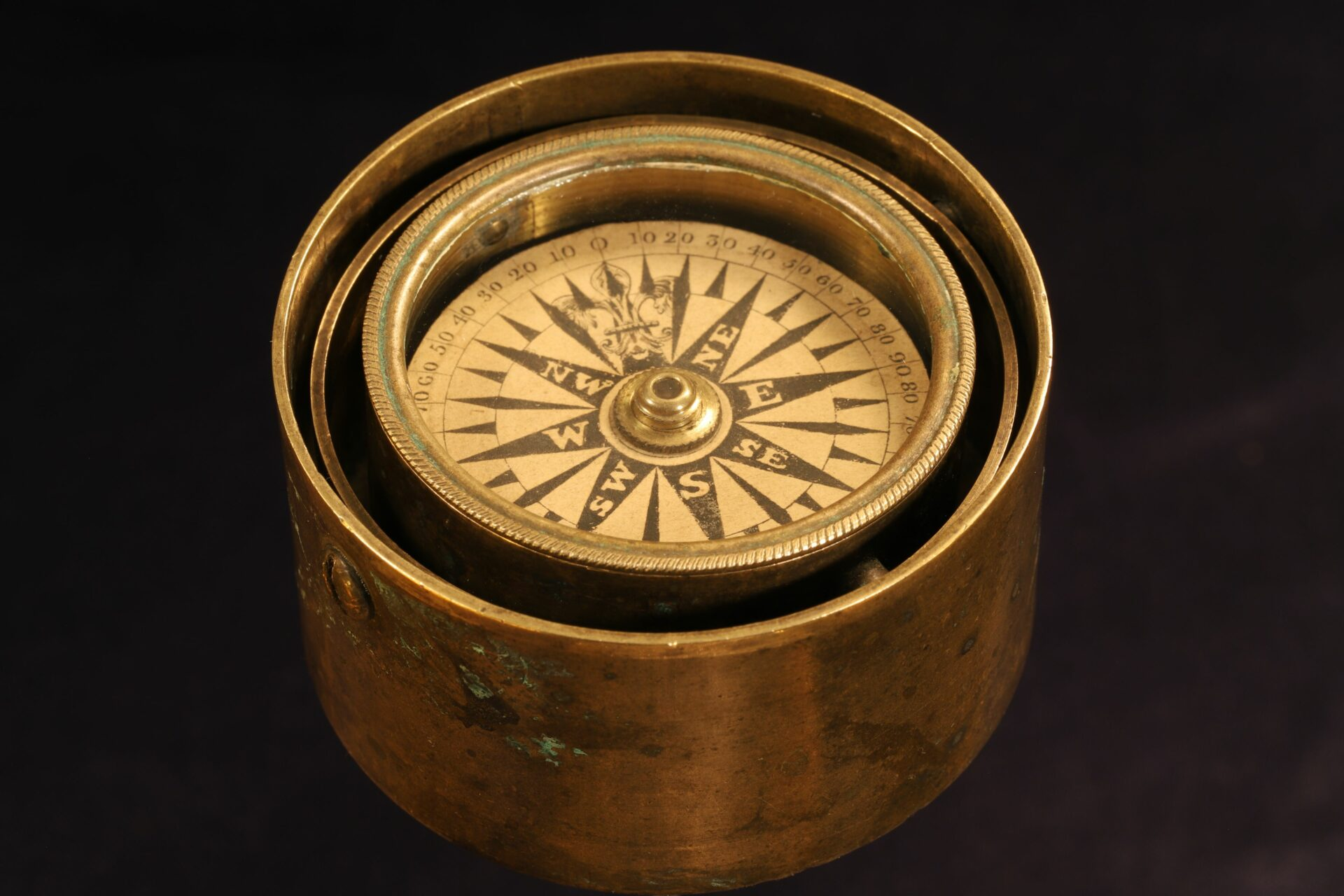 Image of Gimballed Marine Compass c1840