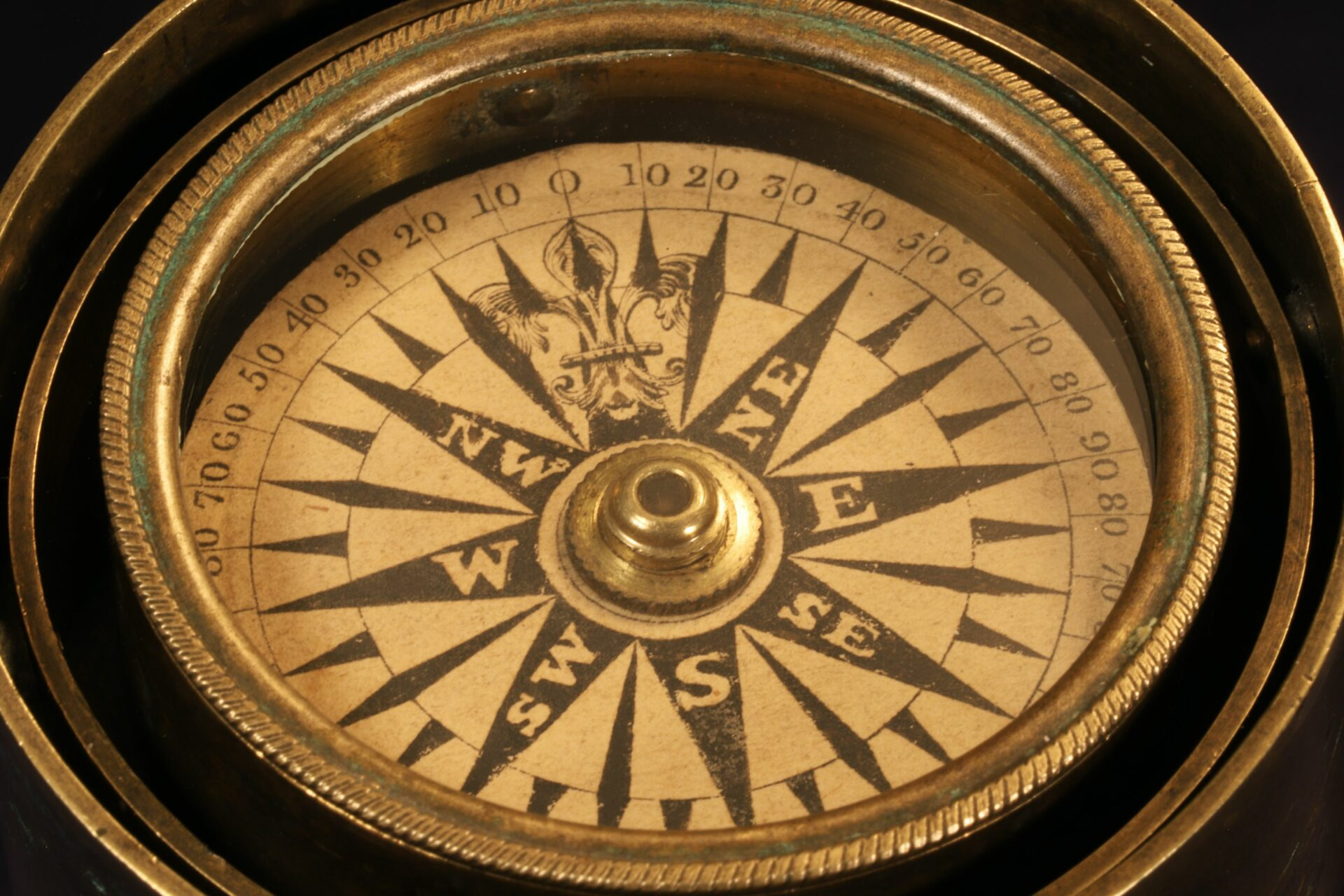 Close up of Gimballed Marine Compass c1840