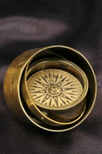 Image of Gimballed Marine Compass c1840 on the tilt