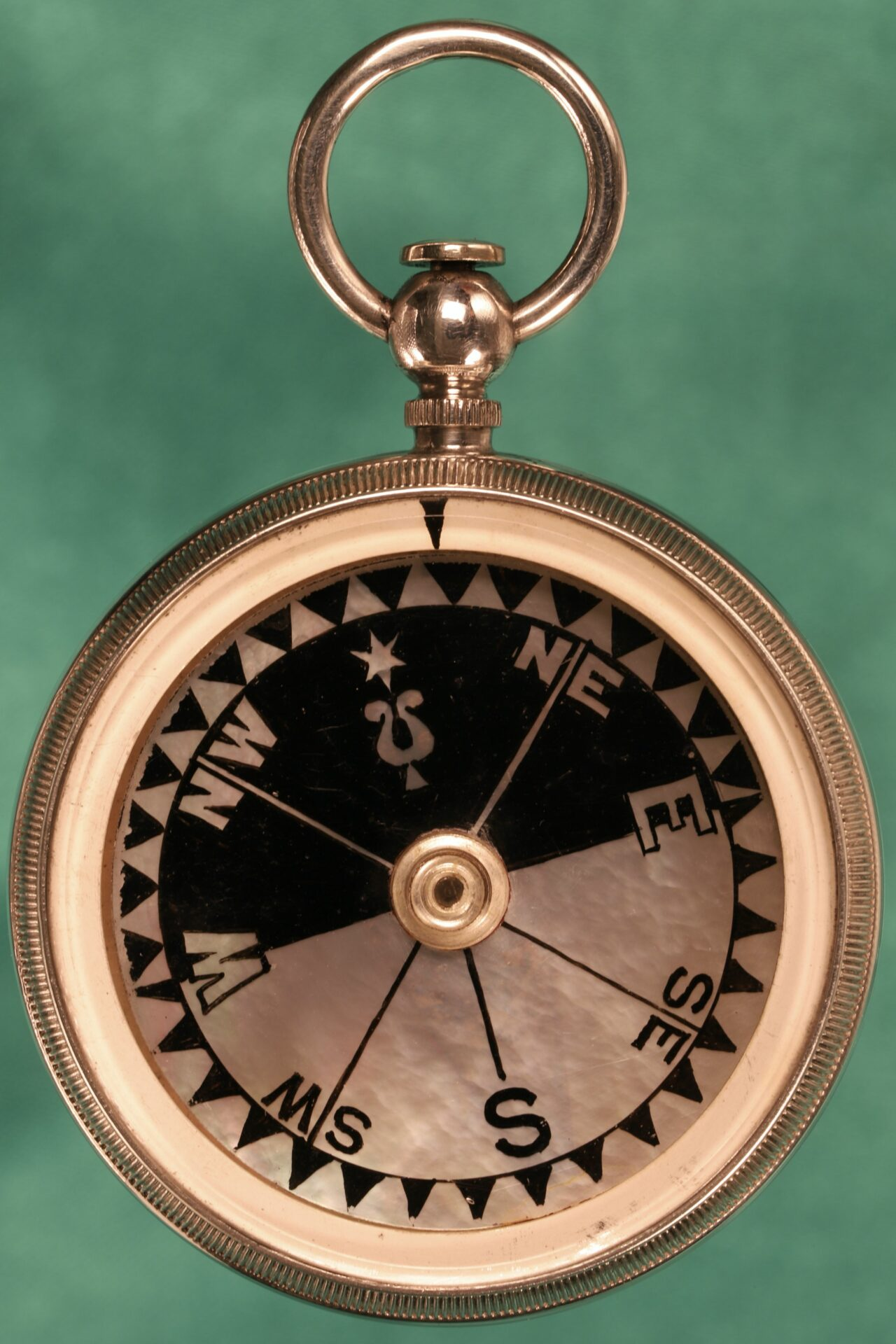Image of front of compass from Houghton & Gunn Silver Travel Compendium c1895