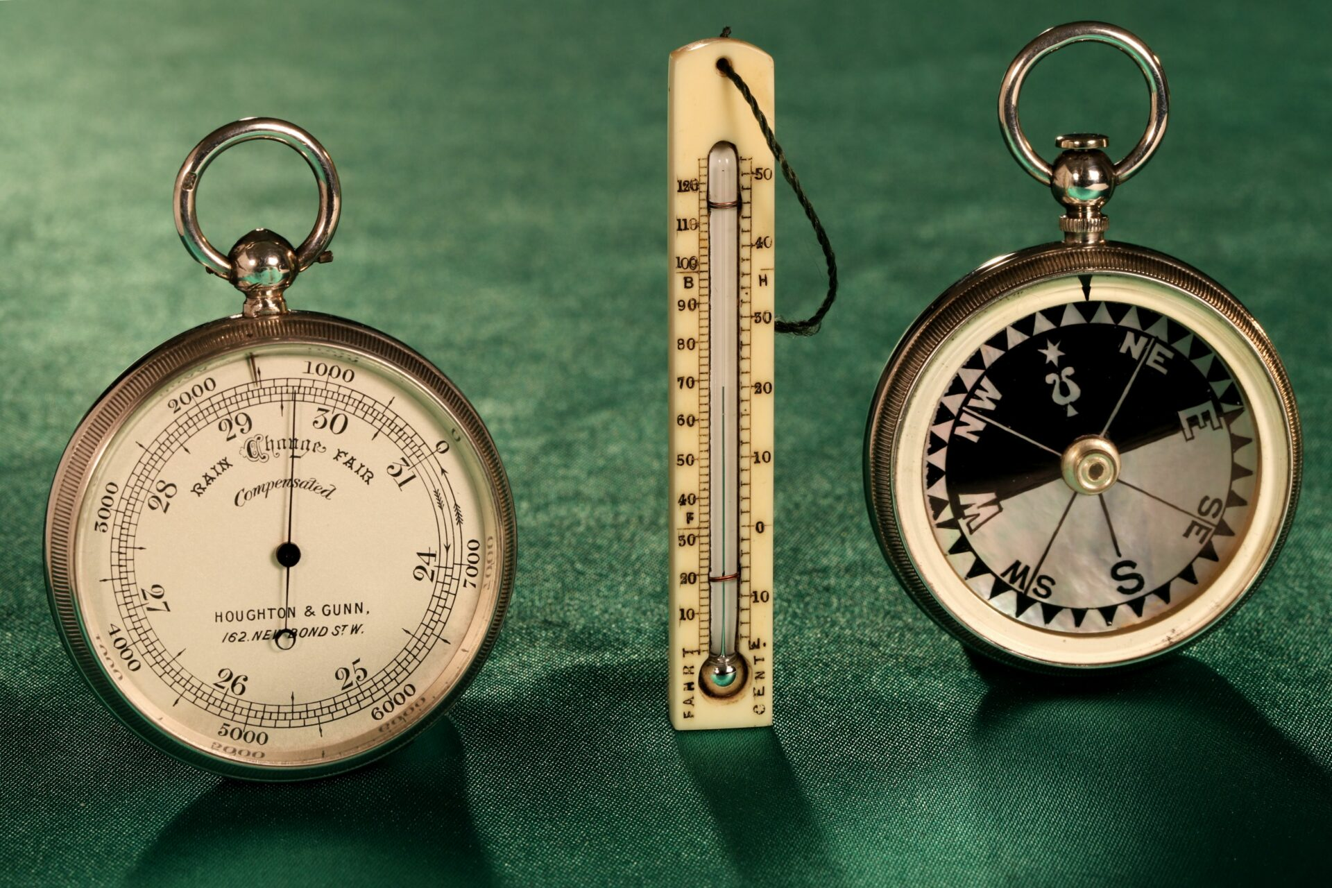 Image of pocket barometer, thermometer and compass from Houghton & Gunn Silver Travel Compendium c1895