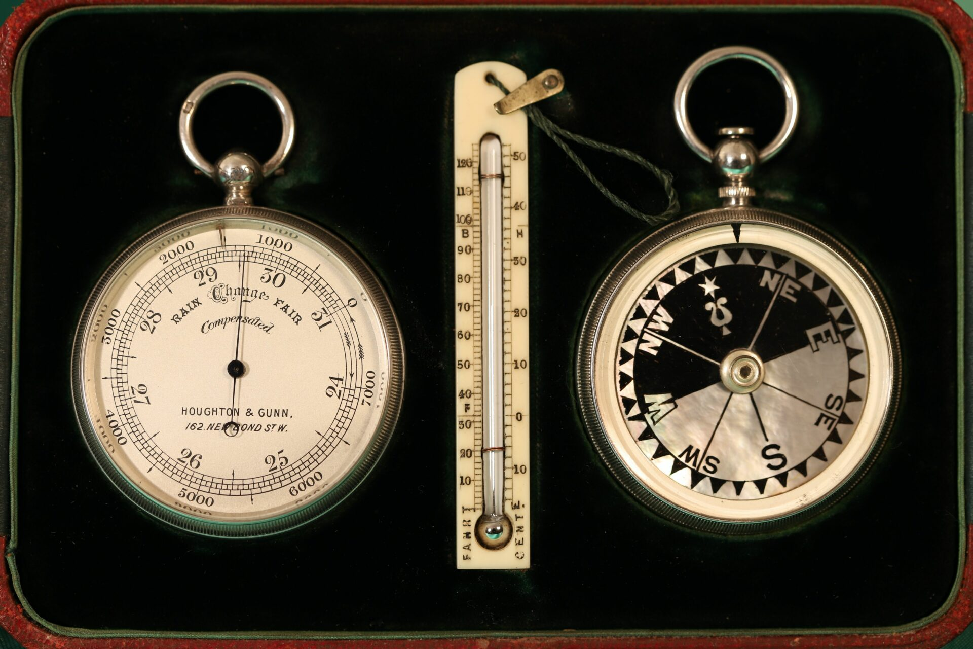 Image of the inside of Houghton & Gunn Silver Travel Compendium c1895 showing pocket barometer, thermometer and compass