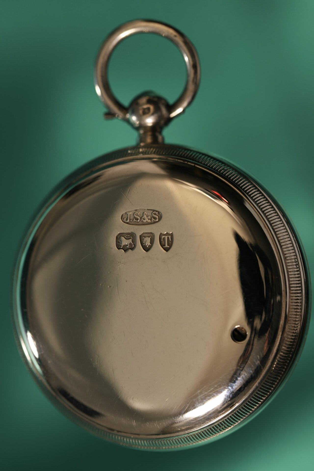 Image of back of pocket barometer from Houghton & Gunn Silver Travel Compendium c1895 showing hallmarks