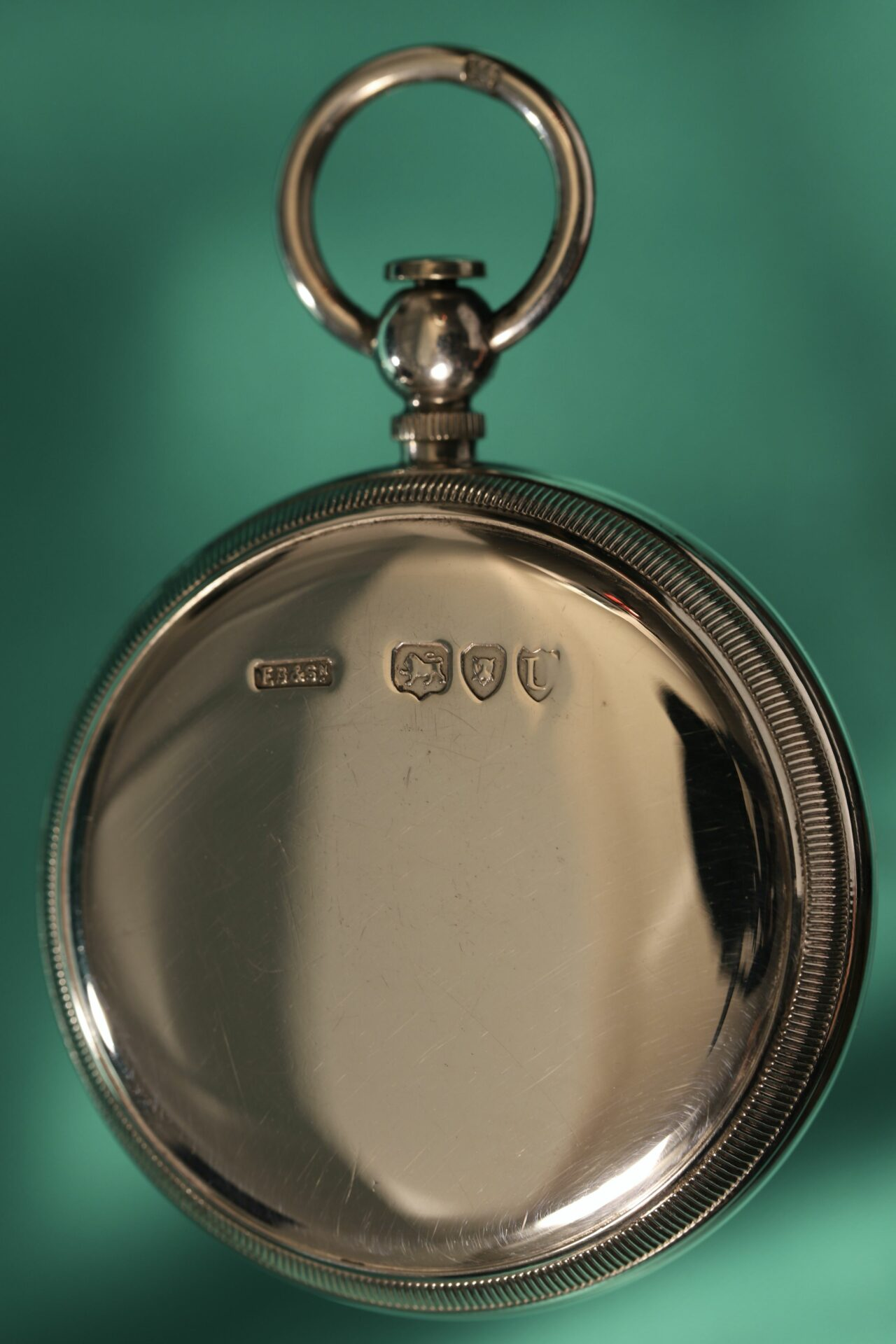 Image of back of compass from Houghton & Gunn Silver Travel Compendium c1895 showing hallmarks