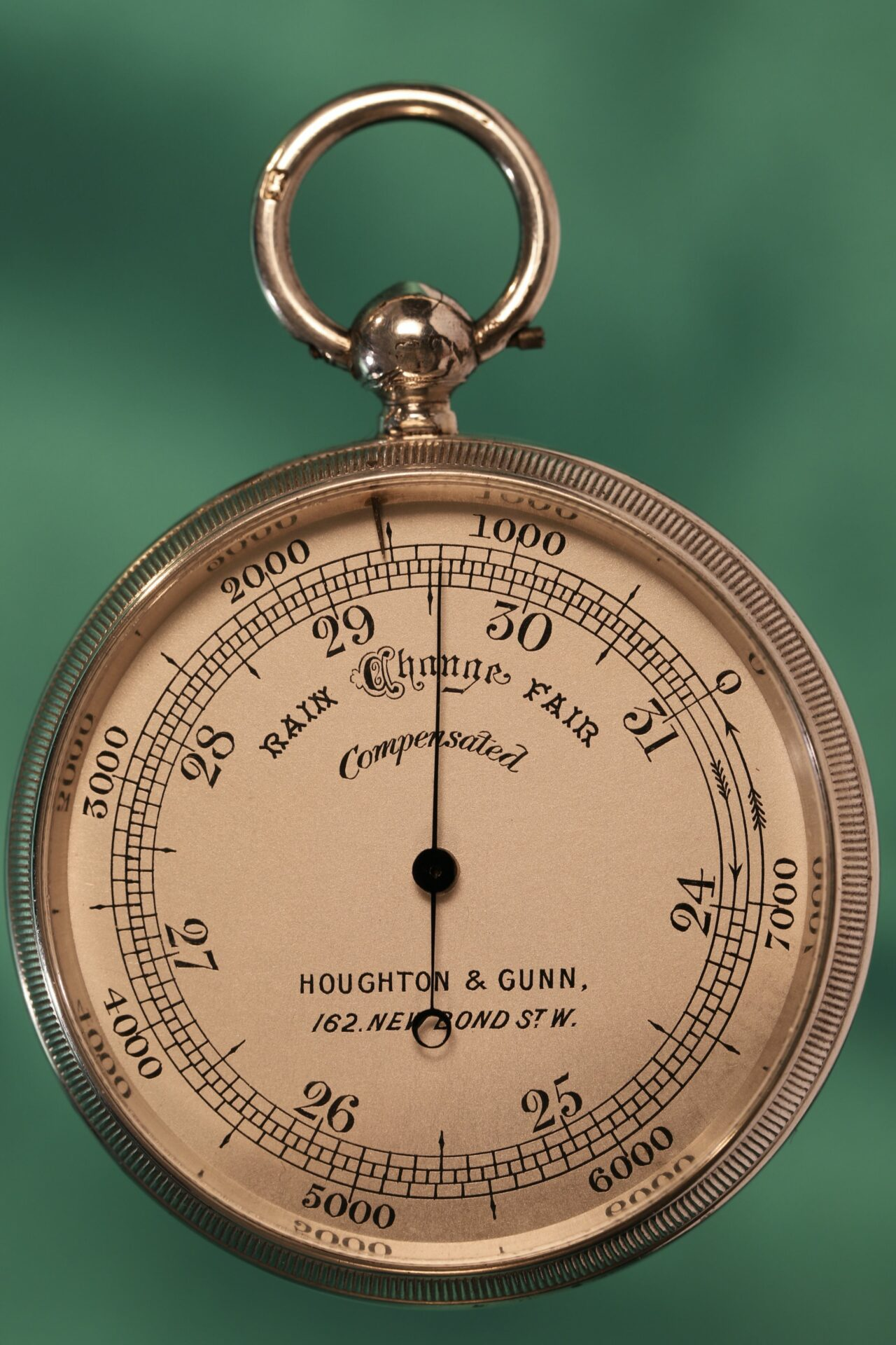 Image of front of pocket barometer from Houghton & Gunn Silver Travel Compendium c1895