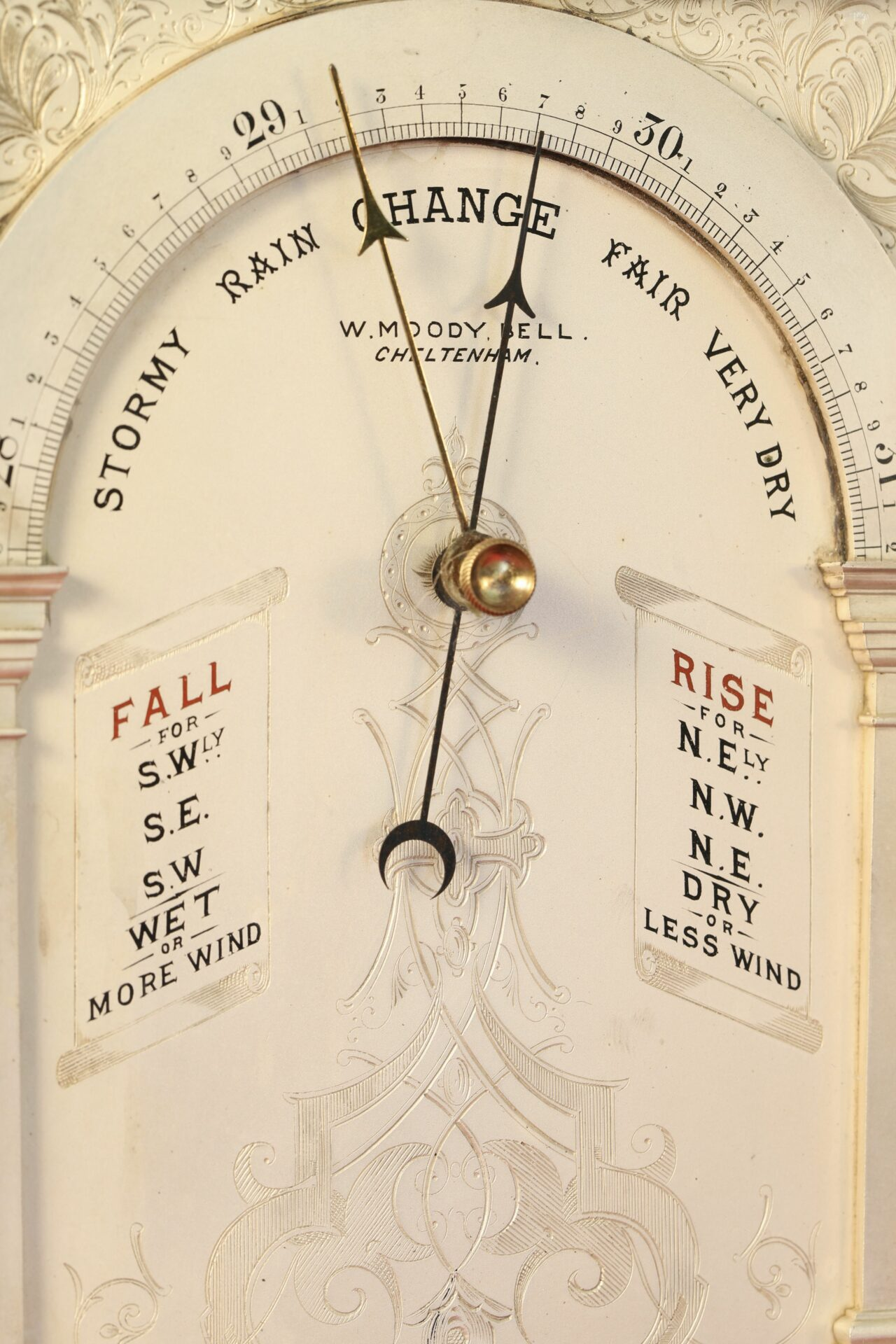 Close up of dial of Moody Bell Table Barometer c1880 showing arch and decoration