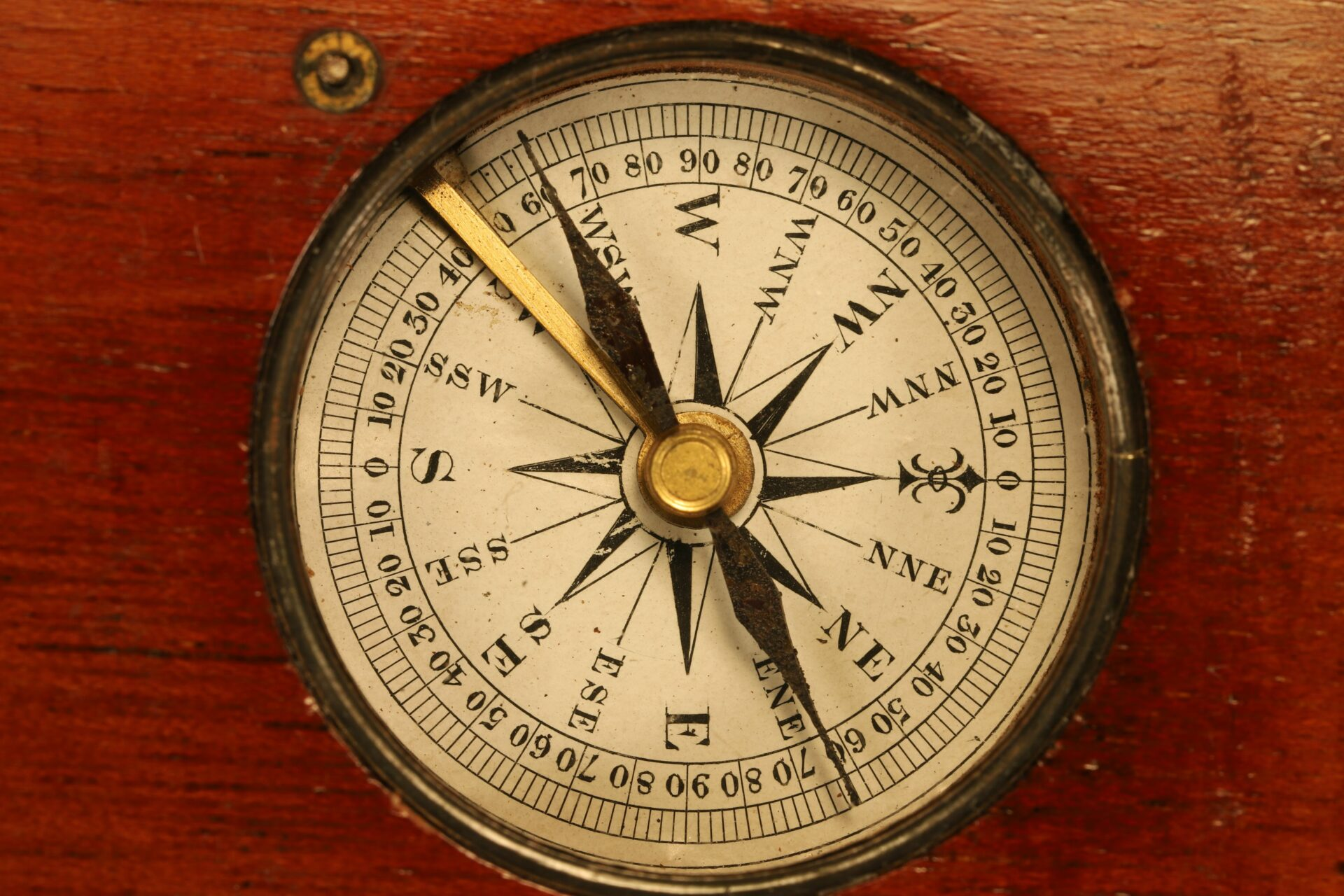 Close up of dial of Francis Barker Equinoctial Compass Retailed by Negretti & Zambra c1870