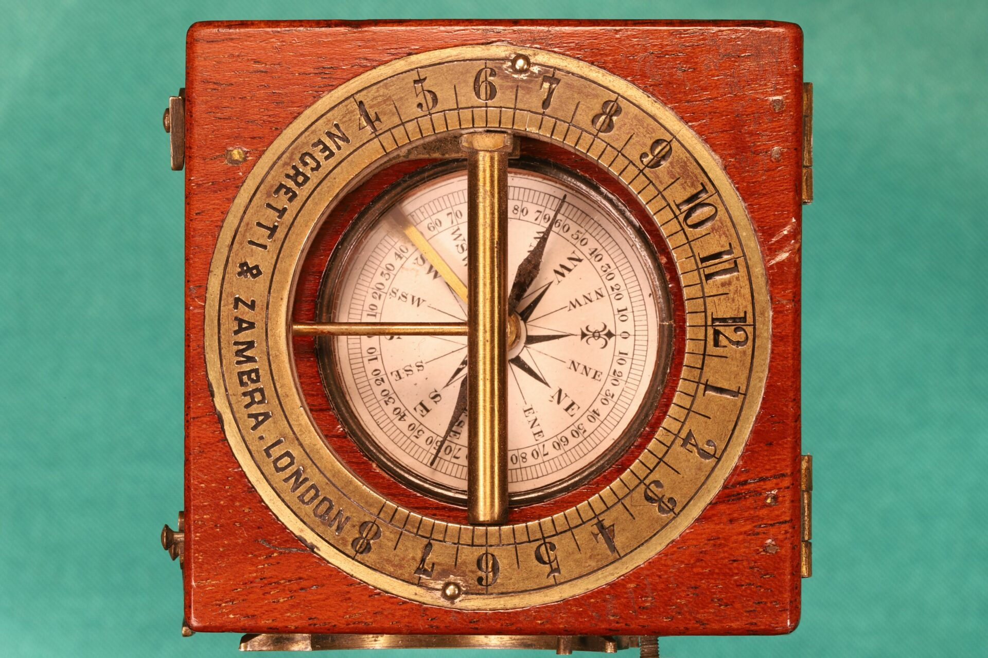 Image of closed Francis Barker Equinoctial Compass Retailed by Negretti & Zambra c1870 taken from above