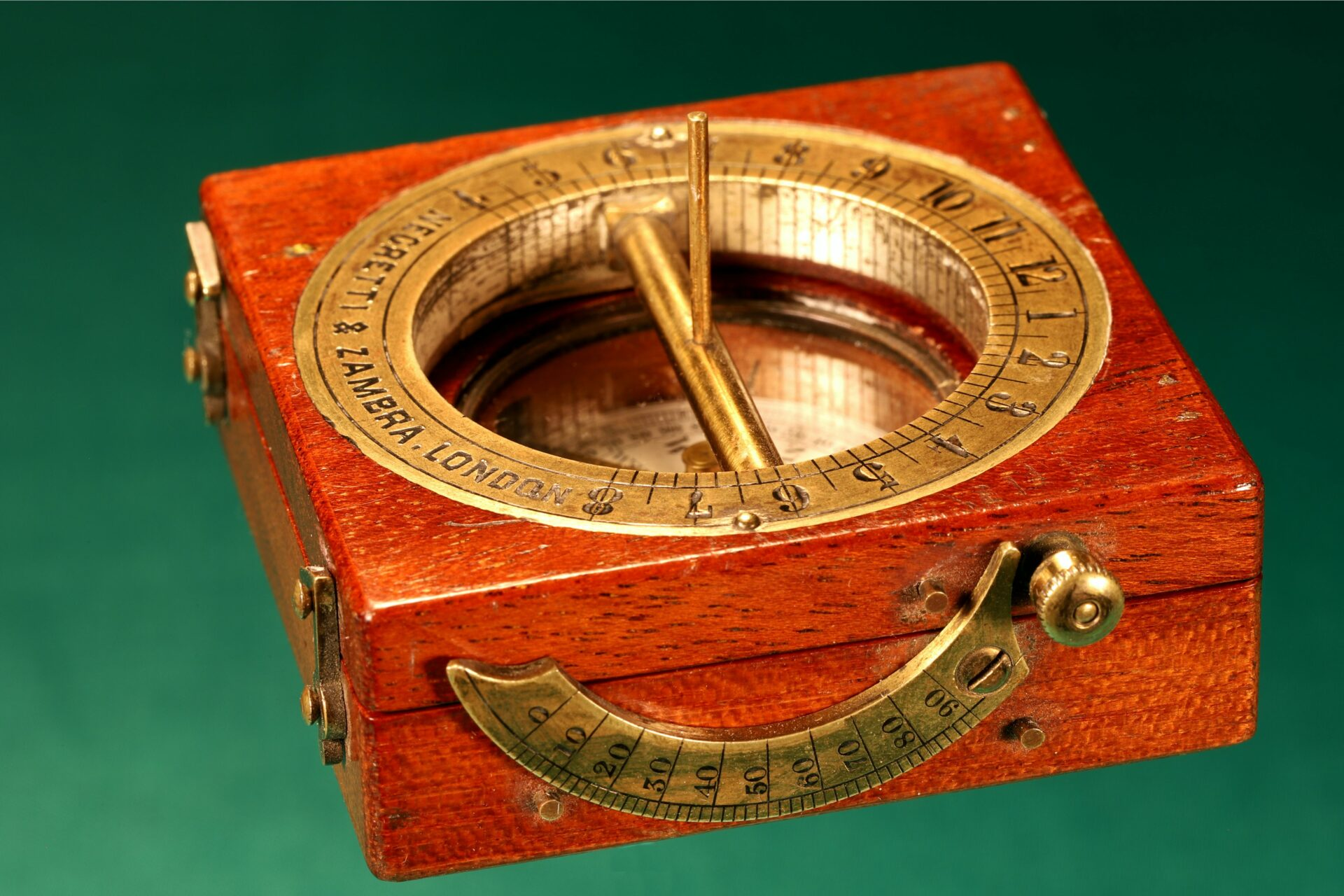 Image of closed Francis Barker Equinoctial Compass Retailed by Negretti & Zambra c1870 with gnomon raised