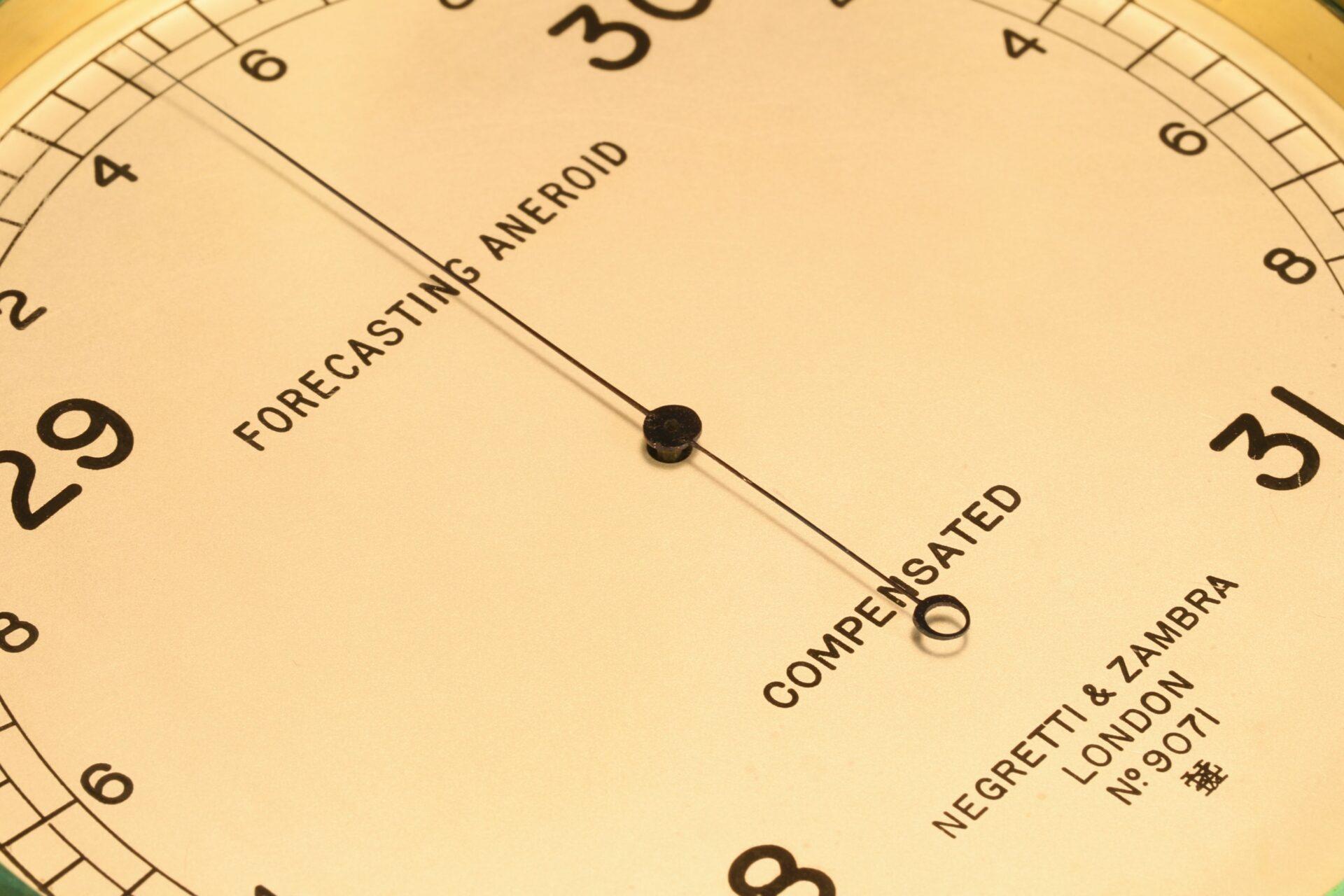 Close up of dial of Negretti & Zambra Forecasting Aneroid No 9071 c1920