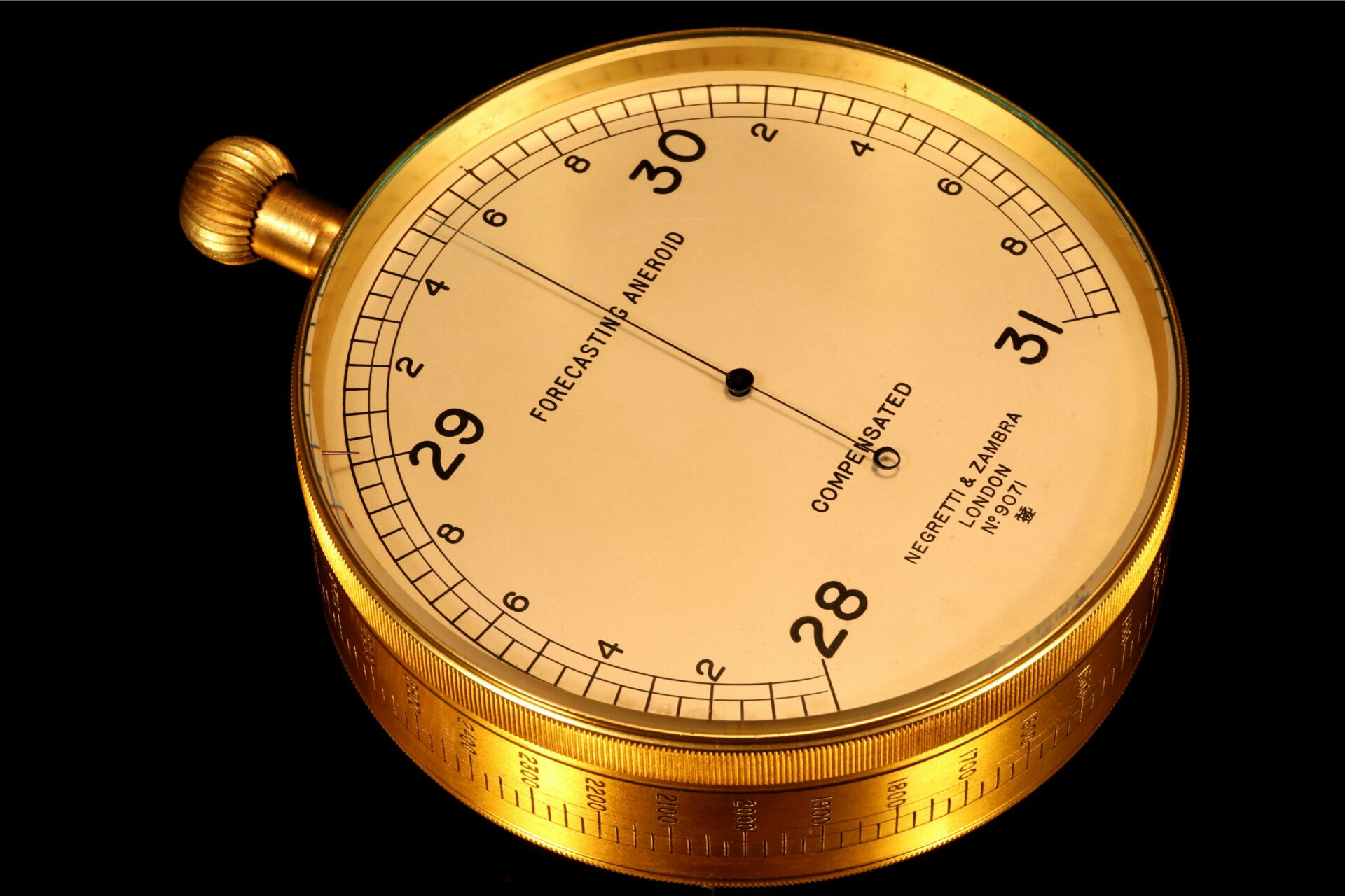 Image of dial and circumference scale of Negretti & Zambra Forecasting Aneroid No 9071 c1920
