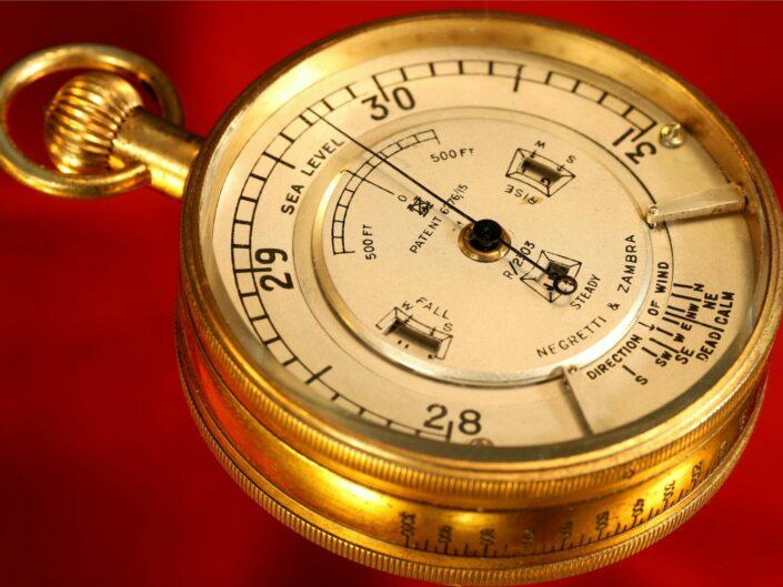 RARE WEATHER WATCH POCKET BAROMETER BY NEGRETTI & ZAMBRA No R/2303 c1923 - SOLD