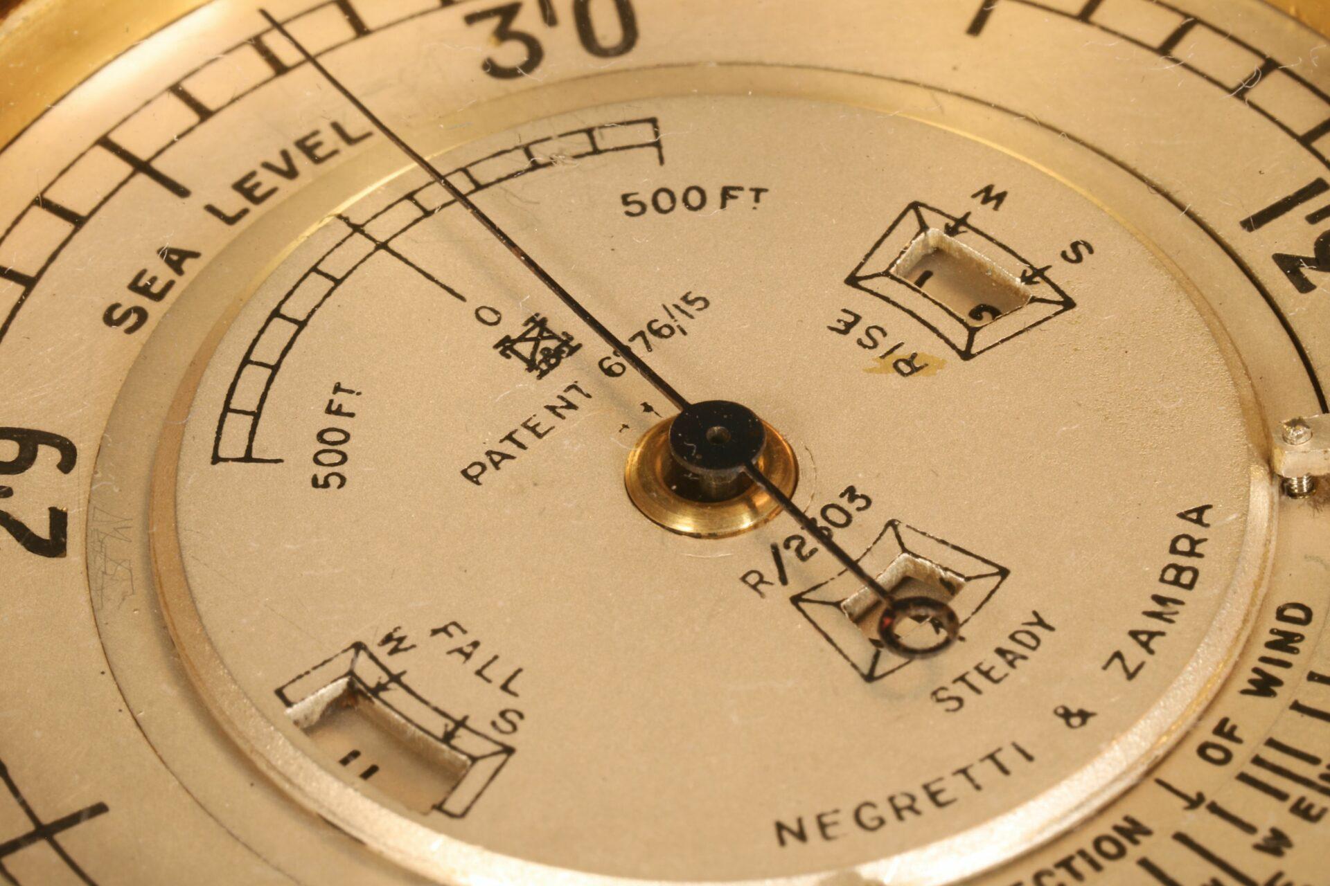 Close up of dial of Negretti & Zambra Weather Watch No R 2303