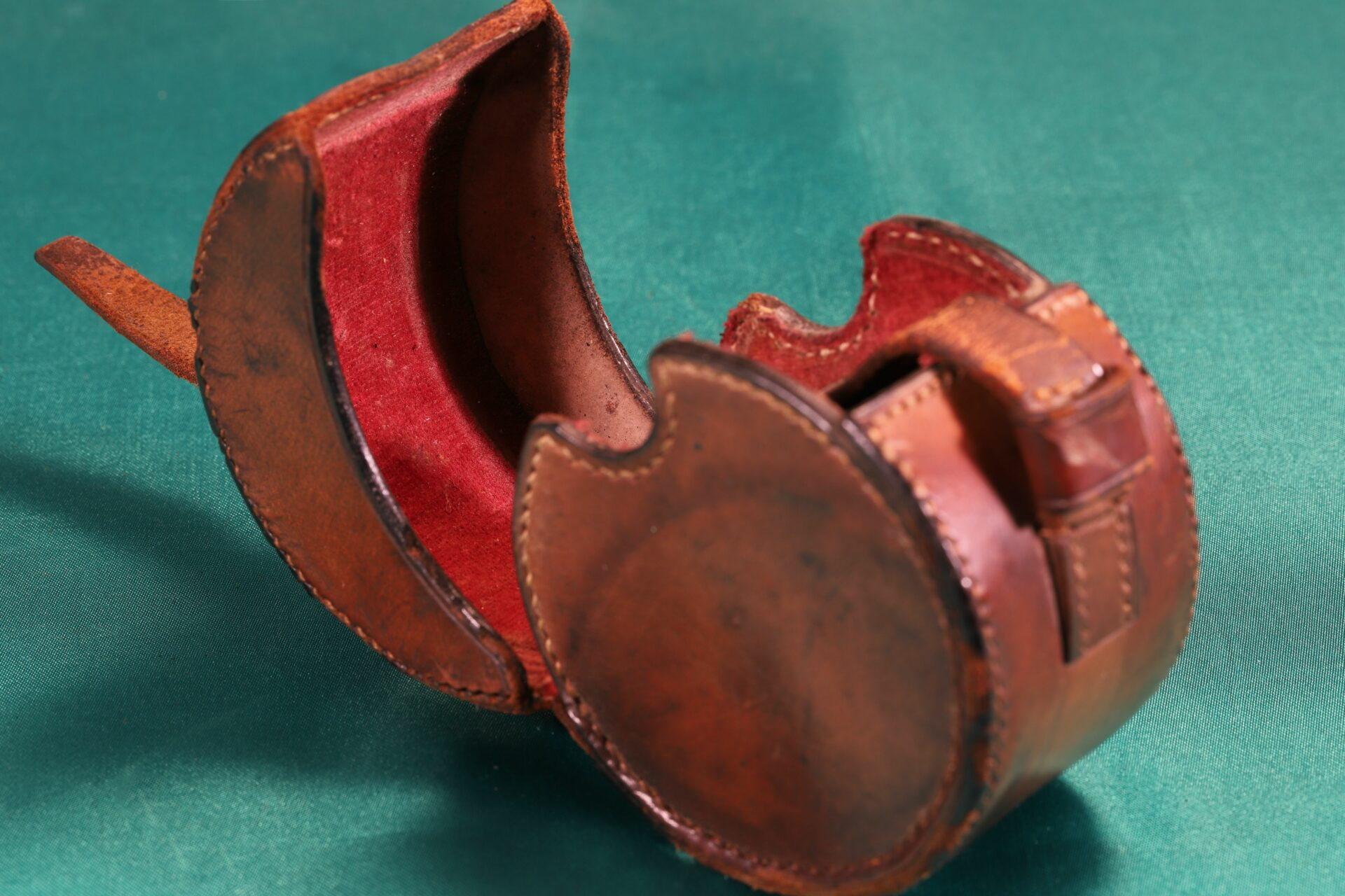 Image of open leather travel case for Oxidised Brass Pocket Sextant c1890