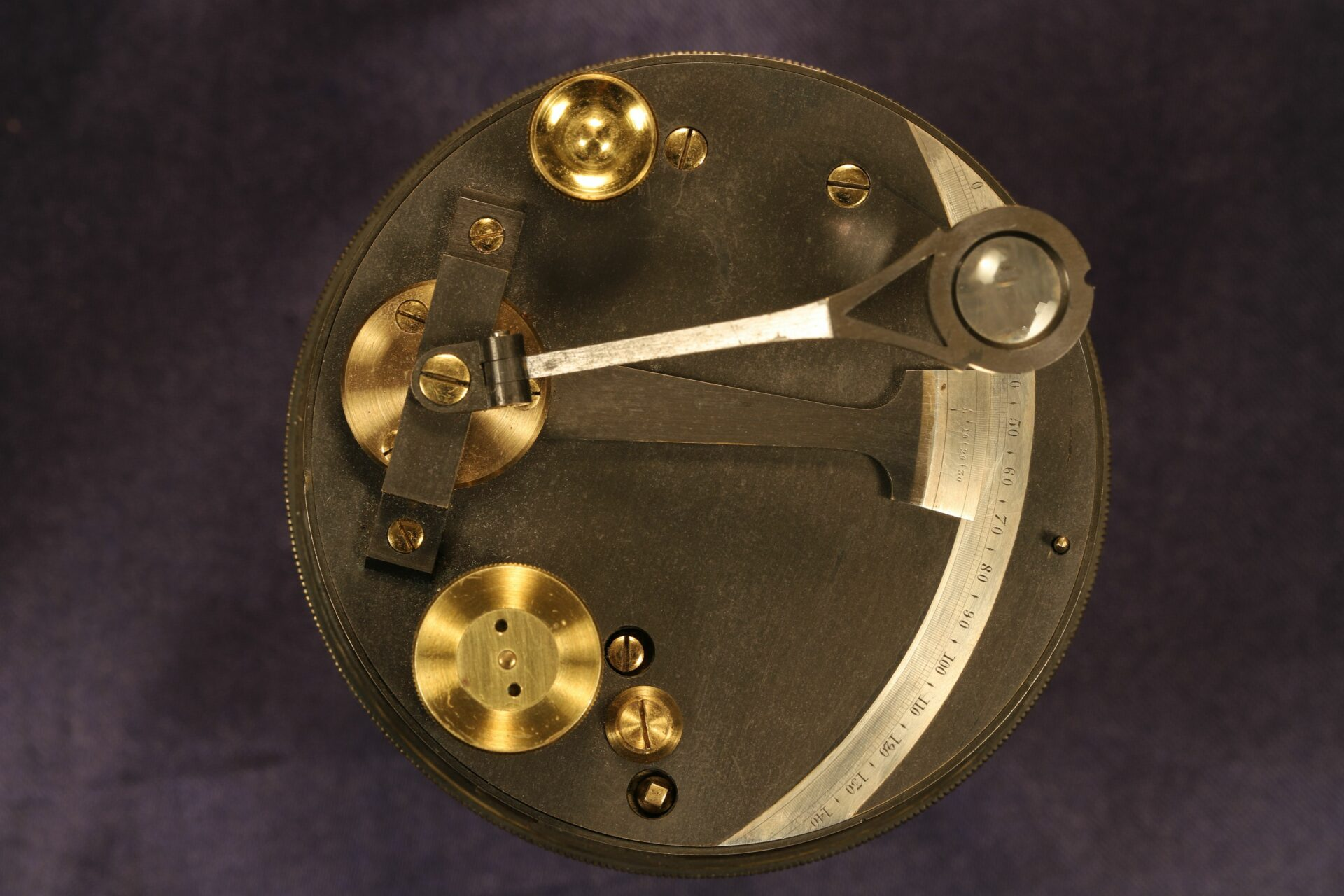 Close up of top of Oxidised Brass Pocket Sextant c1890