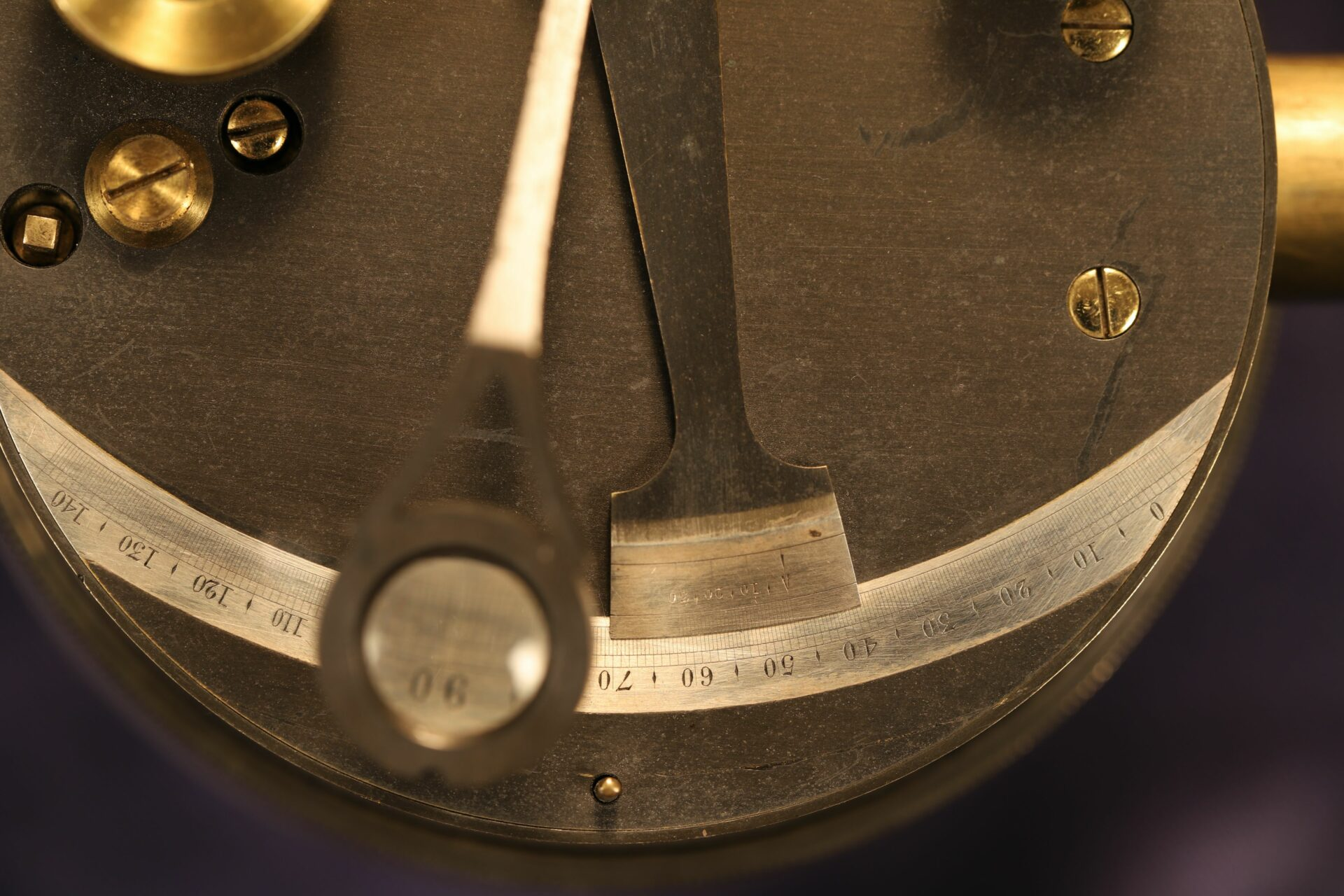 Close up of vernier and scale of Oxidised Brass Pocket Sextant c1890