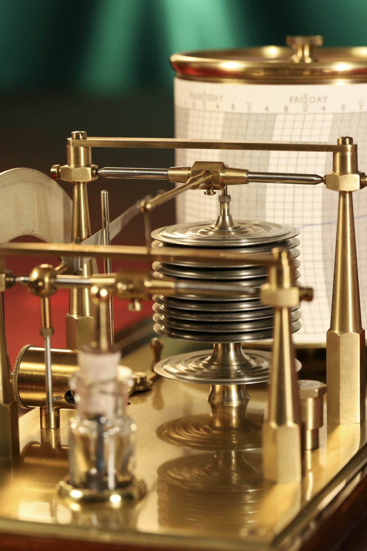 Image of ink bottle and movement of Negretti & Zambra Regent Barograph No R6259 c1929 taken from rear