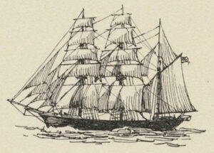 Drawing of a barque (or bark), taken from Travel Literature & History by AnaMaria Seglie