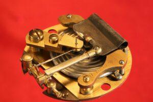 Image of movement for Short & Mason Aluminium Pocket Barometer c1901 taken from right