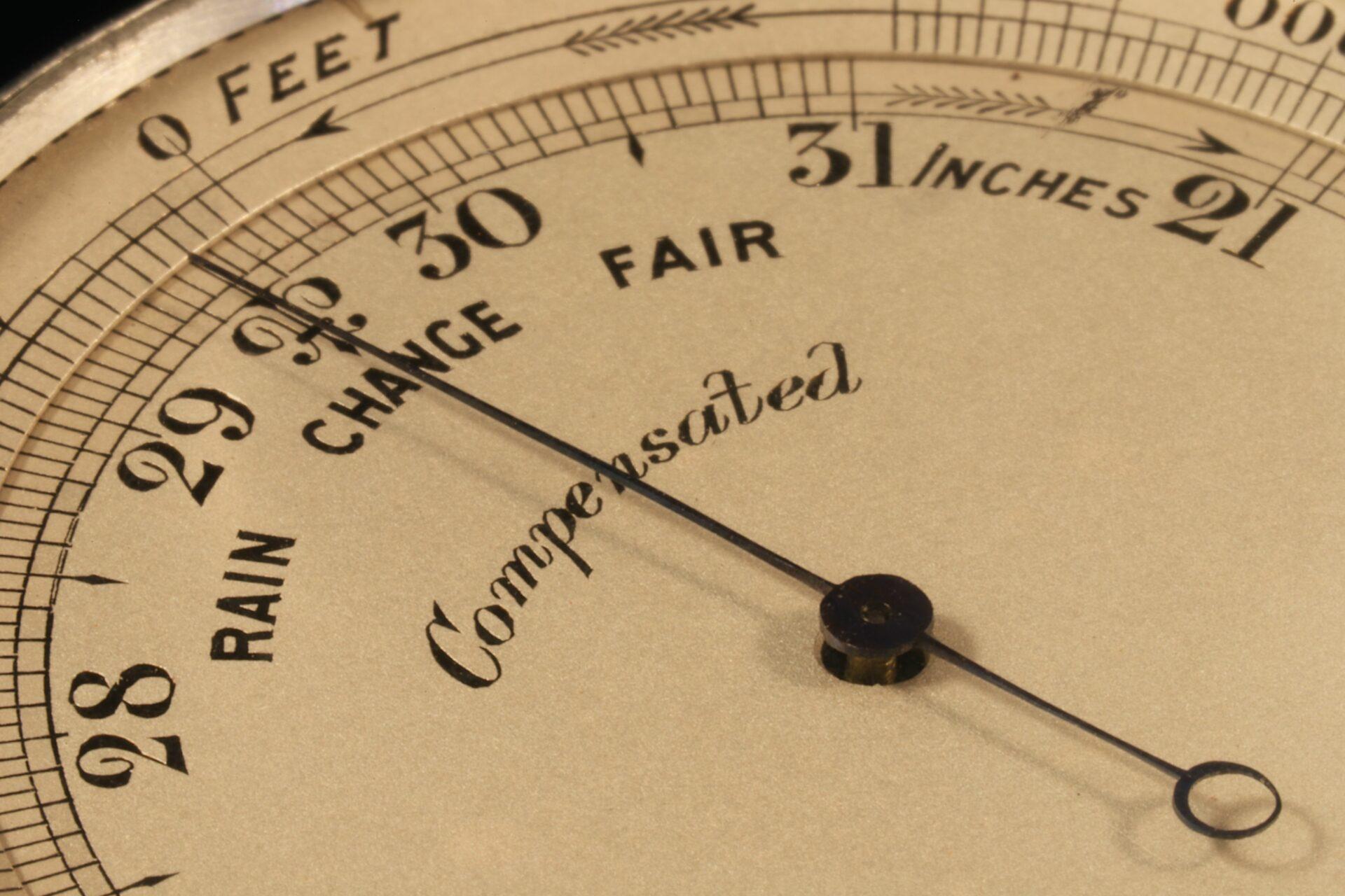Close up of dial for Short & Mason Aluminium Pocket Barometer c1901