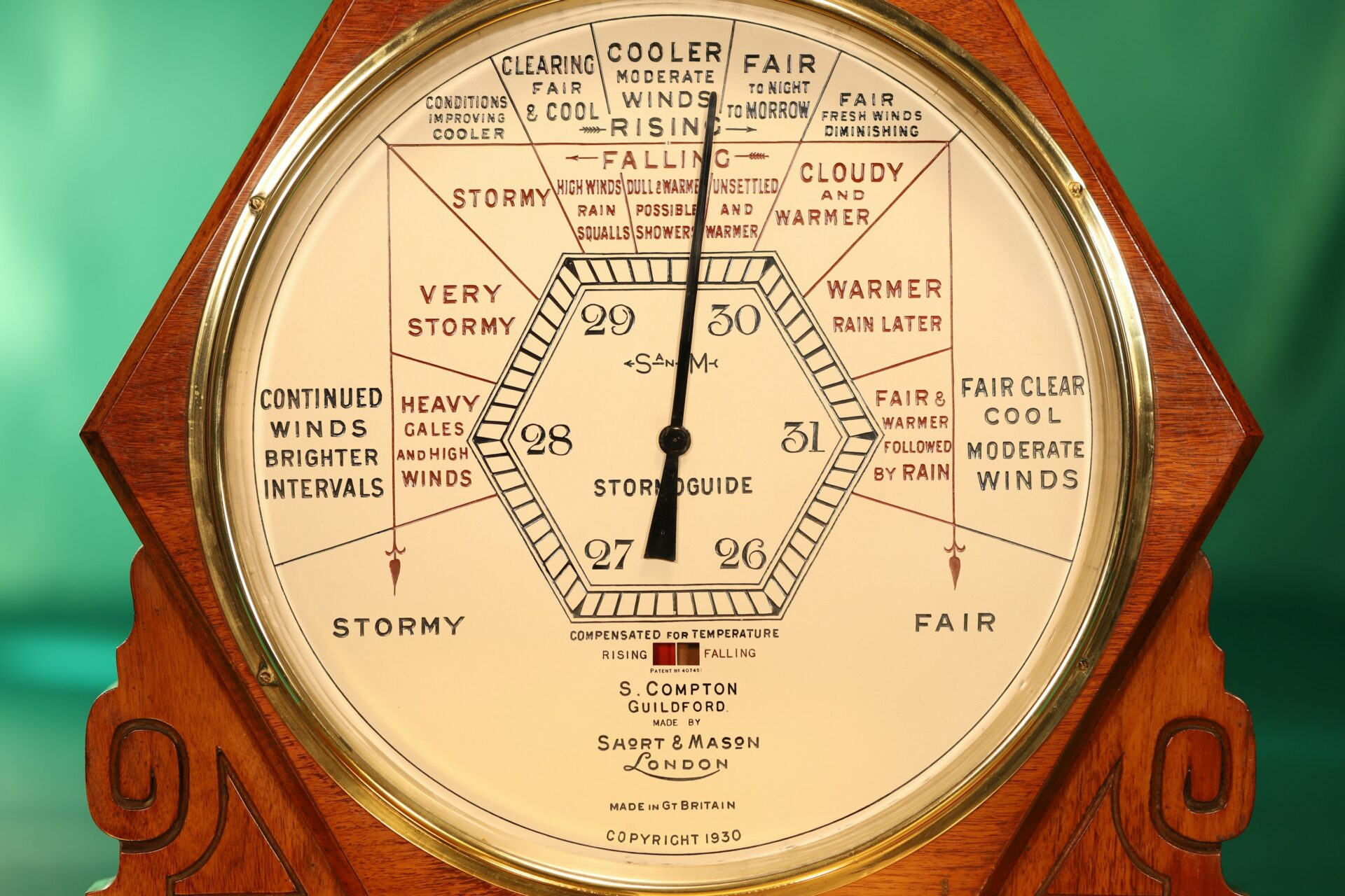 Image of dial of Short & Mason Hexagonal Stormoguide Barometer c1935