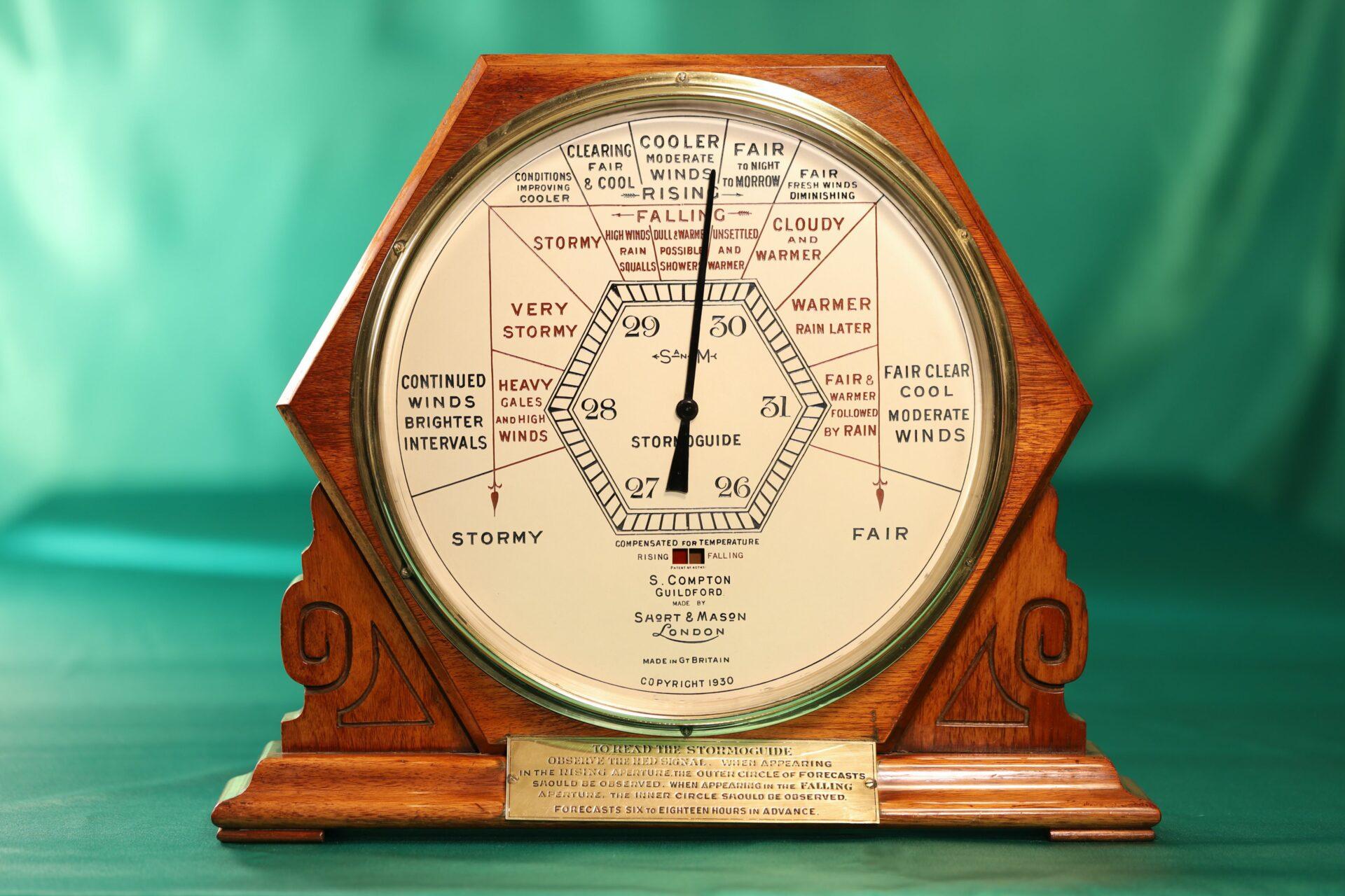 Image of front of Short & Mason Hexagonal Stormoguide Barometer c1935