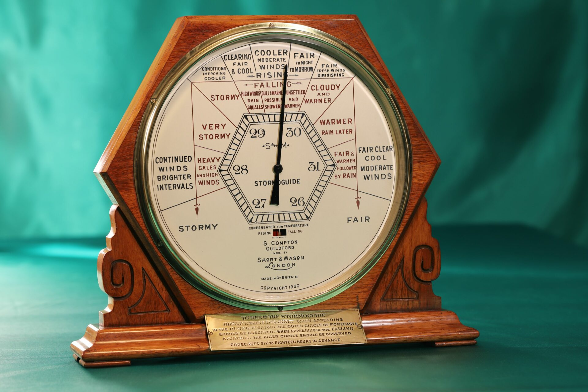Image of Short & Mason Hexagonal Stormoguide Barometer c1935 taken from front left