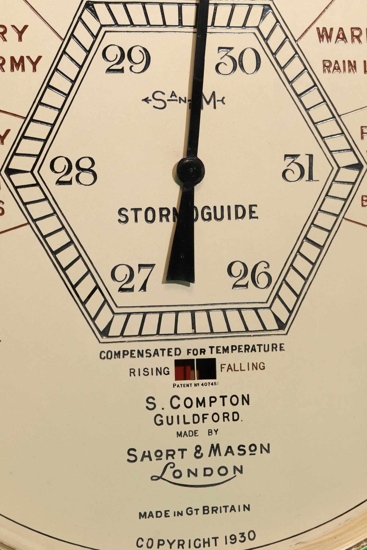 Close up of centre and lower part of dial of Short & Mason Hexagonal Stormoguide Barometer c1935