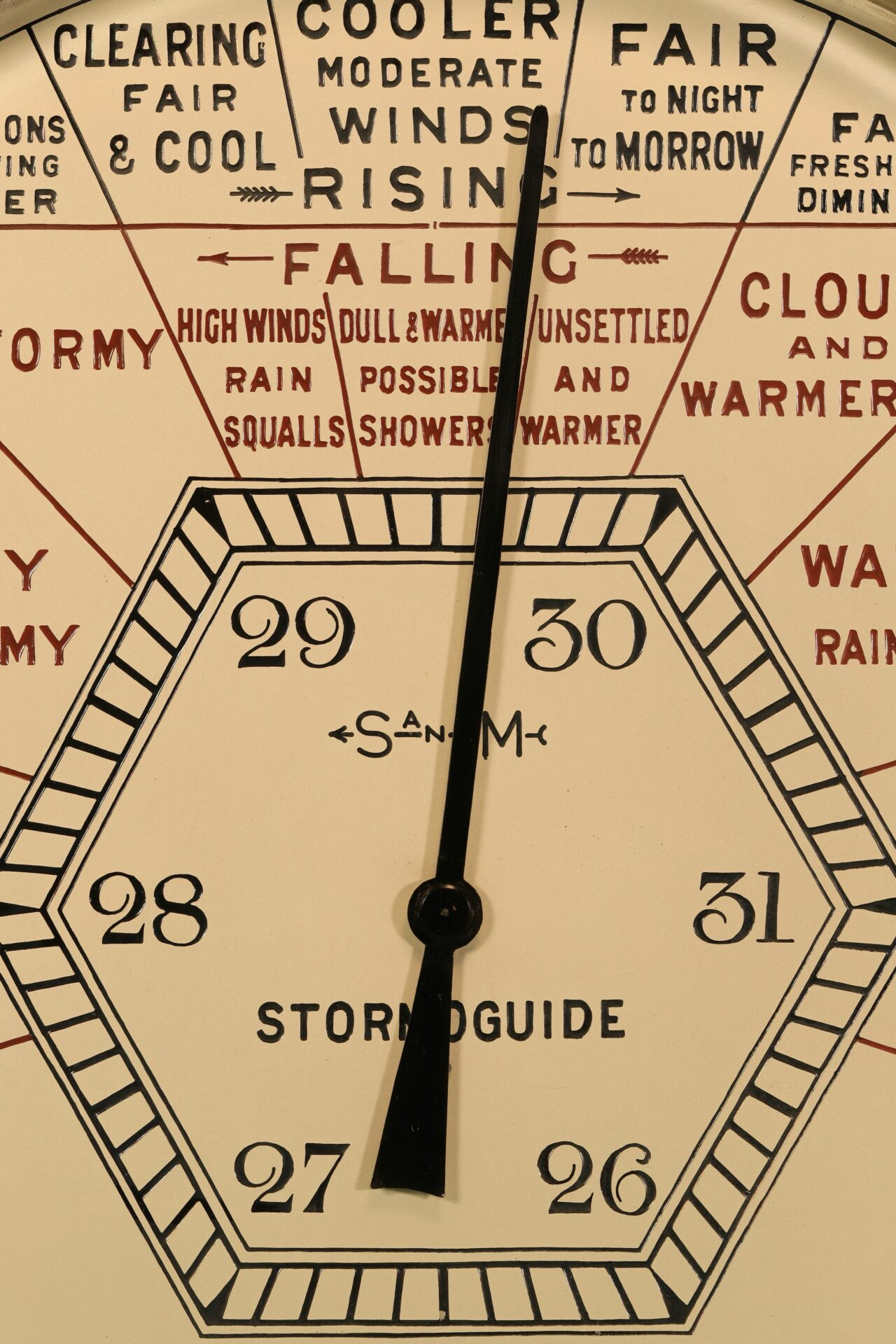 Close up of centre and upper part of dial of Short & Mason Hexagonal Stormoguide Barometer c1935