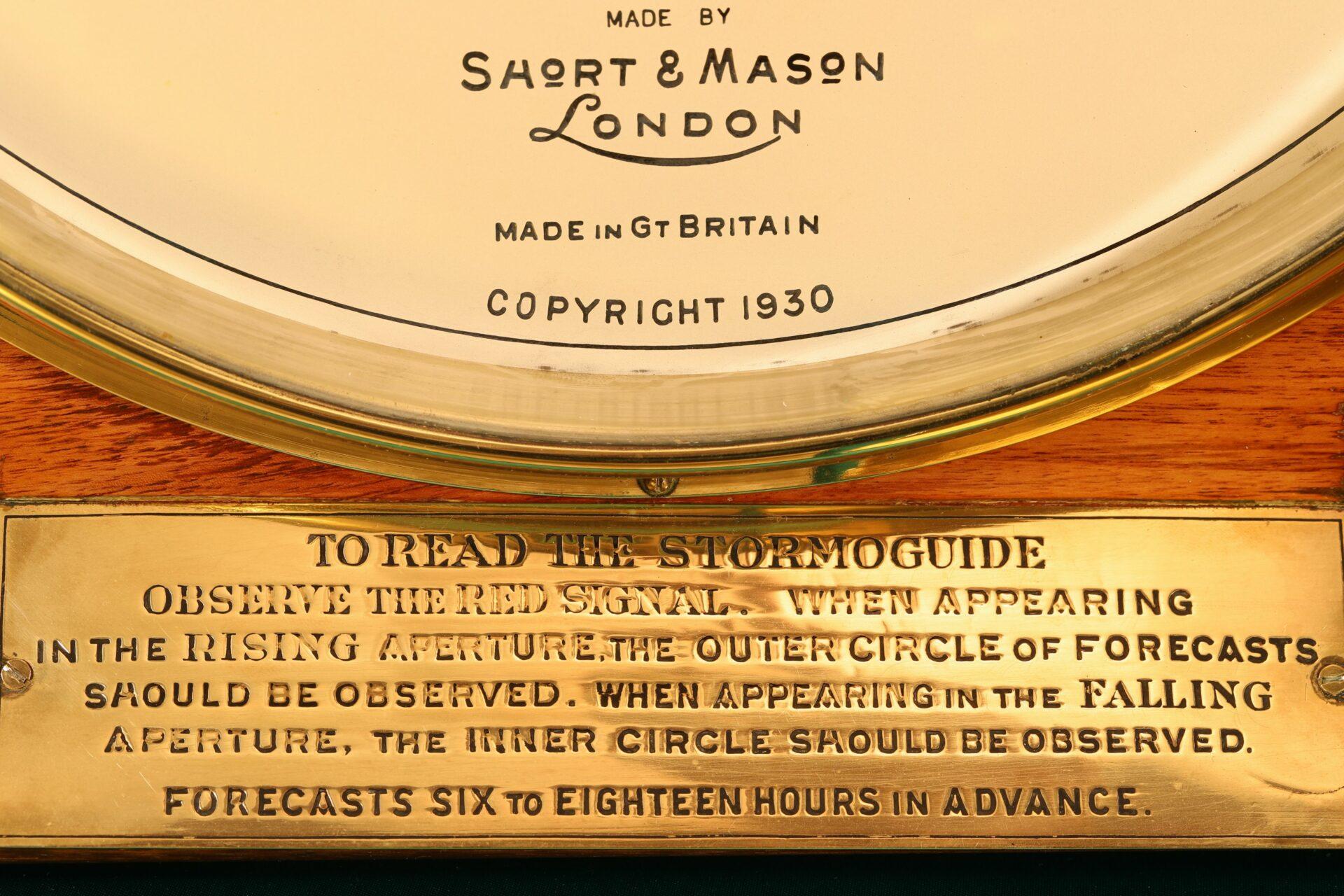 Image of instruction plate for Short & Mason Hexagonal Stormoguide Barometer c1935