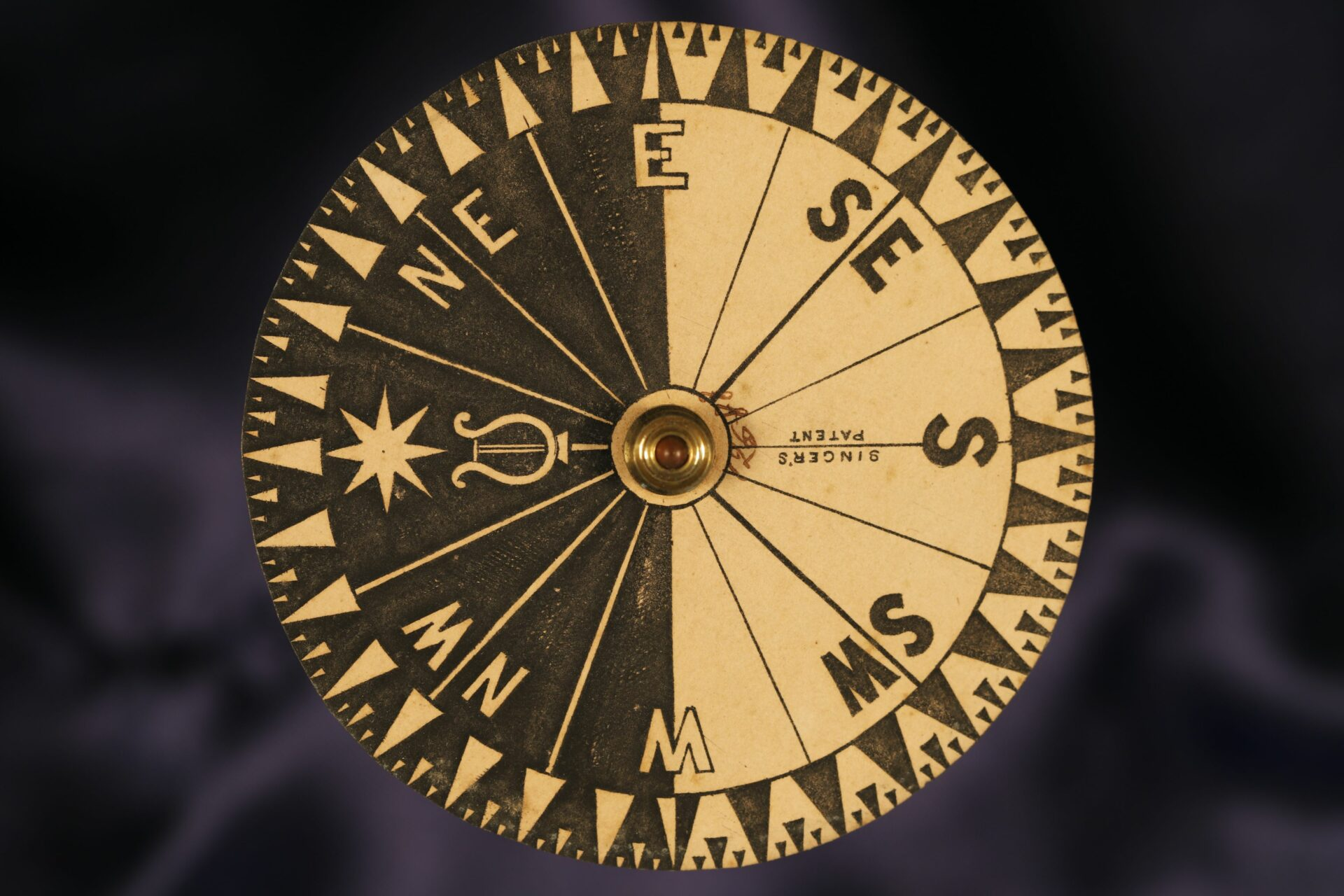 Image of dial of Singers Patent Night Compass No 12588 c1865