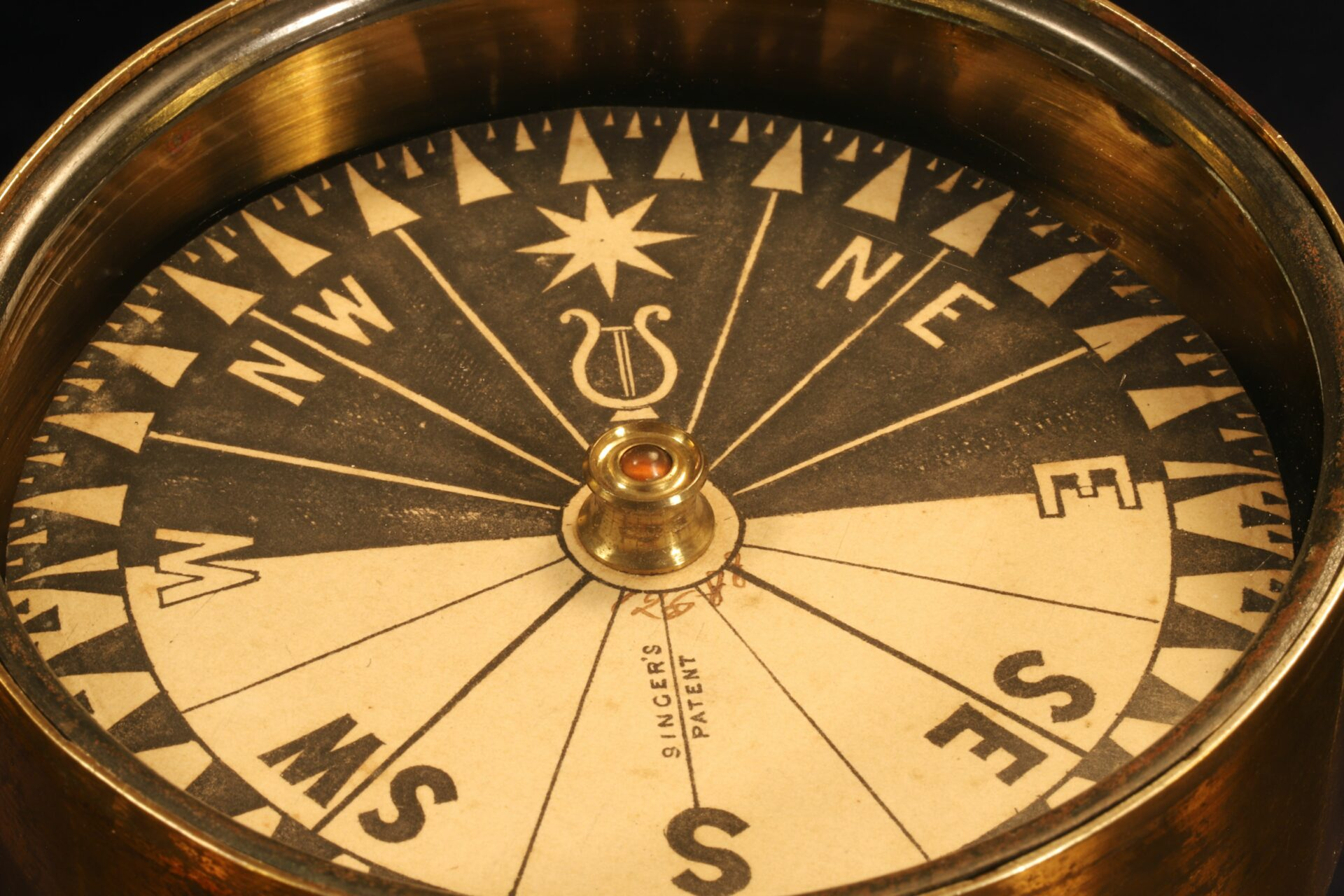 Image of Singers Patent Night Compass No 12588 c1865 showing close up of dial