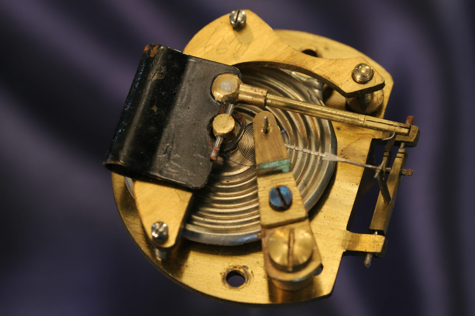 Image of the movement of Silver Pocket Barometer Compendium by Thornhill c1899