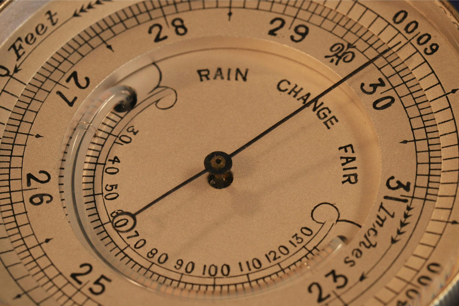 Close up of the dial of Silver Pocket Barometer Compendium by Thornhill c1899