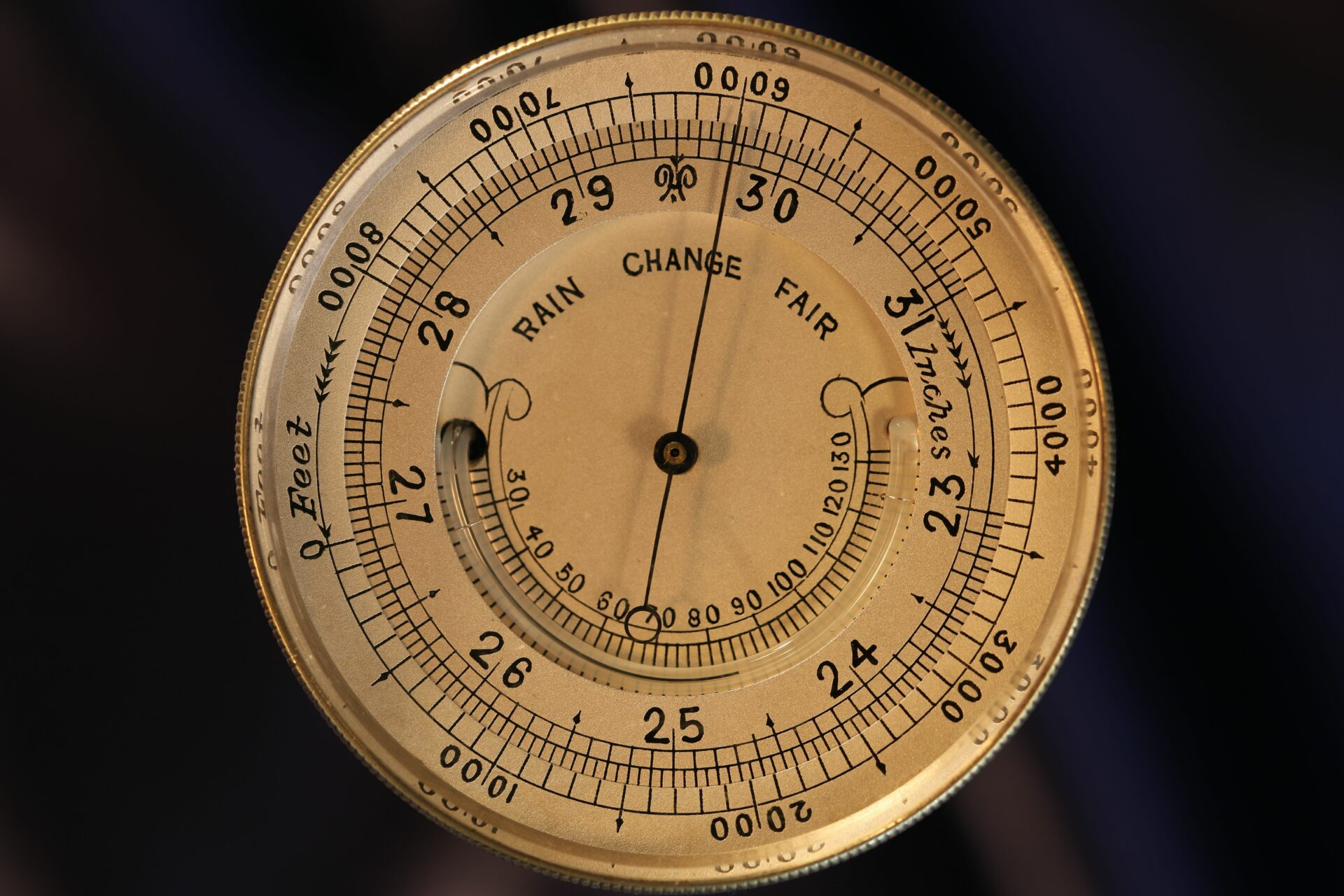 Image of the dial of Silver Pocket Barometer Compendium by Thornhill c1899